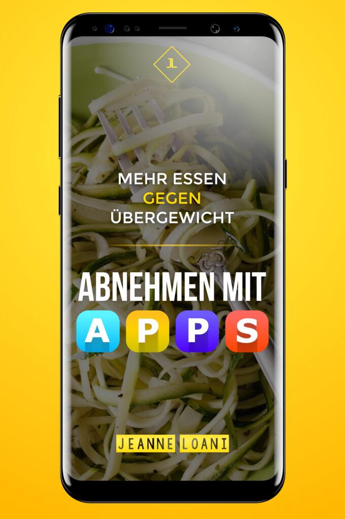 """Stilisiertes Smartphone mit dem Buchtitel """"Abnehmen mit Apps"""""""